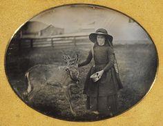 Unknown Photographer, Portrait of a Girl with Her Deer, 1854  Daguerreotype