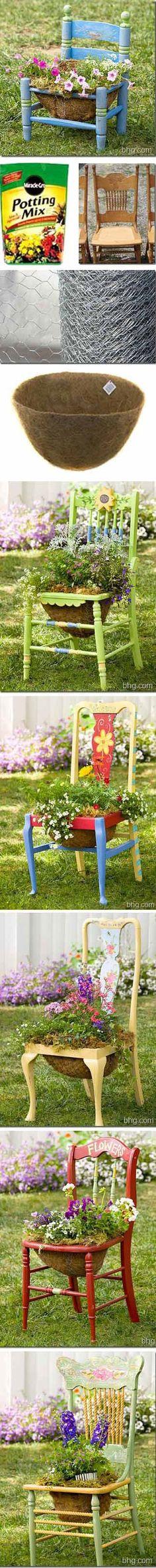 16 Ideas Flowers Garden In Front Of House Porches Old Chairs - Flower Garden İdeas İn Front Of House Garden Front Of House, House With Porch, House Front, Outdoor Crafts, Outdoor Projects, Garden Projects, Diy Garden, Dream Garden, Chair Planter
