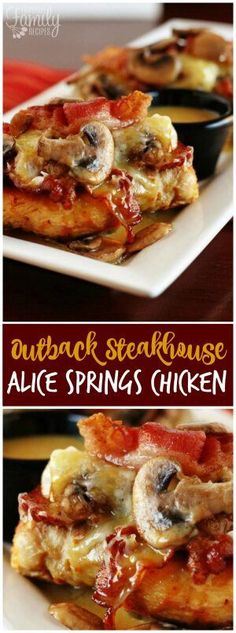 Alice Springs Chicken is the first thing I tried at Outback Steakhouse and I fell in love. It's a yummy cheesy, bacon and mushroom delicious hot mess. #alicespringschicken #copycatrecipe #cheeseandbacon