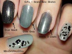 Miss DeVious DiVa: O.P.I. - Brand New Skates AKA My First O.P.I. Swatches & Leopard Print #nails #nailart #opi