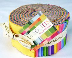 Moda Solids Jelly Roll  Brights  Versatile by 44thStreetFabric