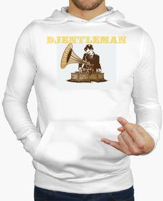 Camiseta DJENTLEMAN Hombre, jersey con capucha, blanco