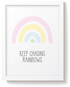 The Snuz 'Keep Chasing Rainbows' Nursery Print - Pastel completes any nursery or bedroom. Rainbow Bedroom, Rainbow Nursery, Rainbow Art, Girl Nursery, Girl Room, Nursery Ideas, Girls Bedroom, Happy Fun, Nursery Prints