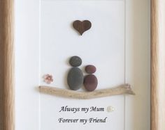 Pebble Art framed Picture - Mothers Day - Mother and Child - Always my Mum, forever my Friend