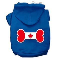 Bone Shaped Canadian Flag Screen Print Pet Hoodies Blue XXXL(20)