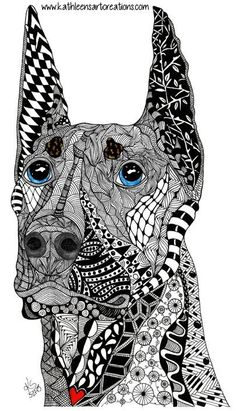 "Whimsical  Zentangle® Inspired design named ""Kane"" the Doberman Pinscher. Finished 5-27-15. Dedicated to J. Sherman's dog who died of kidney infection in 2014.   A 12-pack of note cards are available for $23.00 with FREE shipping and handling. Prints, pillows, mouse pads, mugs, clothing and much more are available of all my designs."