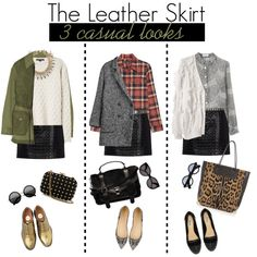 1 Item - 3 Looks with leather skirt by frutini on Polyvore featuring 3.1 Phillip Lim, Alexander Wang, A.P.C., Equipment, IKKS, McQ by Alexander McQueen, Proenza Schouler, Dune, J.Crew and Gucci