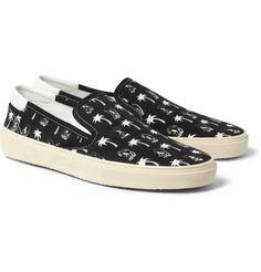 Saint Laurent - Printed Canvas Slip-On Sneakers|MR PORTER