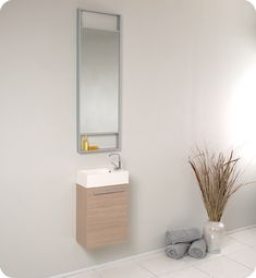 Fresca Senza Pulito Small Modern Bathroom Vanity Set with Tall Mirror Discount Bathroom Vanities, Oak Bathroom Vanity, Small Bathroom Vanities, Bathroom Ideas, Teak Bathroom, Downstairs Bathroom, Bathroom Furniture, Small Sink, Small Vanity