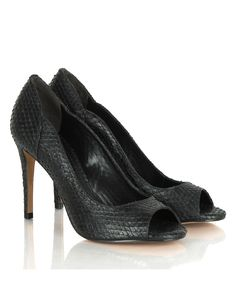 These textured reptile print peep toe heels in black are an updated take on a classic style. The black leather peep toes have heels that measire approximatley 4 inches Walking Tall, Peep Toe Heels, Sport Fashion, Designer Shoes, Black Shoes, Classic Style, What To Wear, Kitten Heels, Black Leather