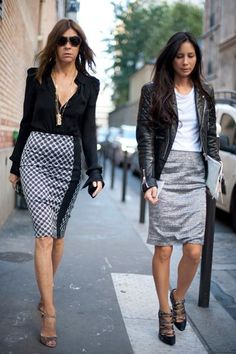 patterned pencil skirts w/ neutral tops
