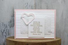 """Heute zeige ich Euch mein 2. Beispiel zum Thema Taufe! Wie gestern bereits beschrieben, habe ich Mädchen-Taufkarten gebastelt, die aber lediglich eine Designvorlage sein sollen und für Jungs in anderen Farben genauso nachgebastelt werden können. Sofort habe ich beim Thema Taufe an die Herzen aus dem Stempelset """"Heart Happiness"""" und das Set """"Für Schatz-Karten"""" gedacht."""