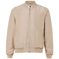 TOPMAN Stone Lightweight Bomber Jacket ($52) ❤ liked on Polyvore featuring men's fashion, men's clothing, men's outerwear, men's jackets, beige, mens lightweight jacket, mens bomber jacket, mens lightweight bomber jacket and mens light weight jackets