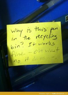Found this in pen recycling bin at work