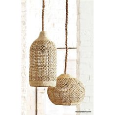 This beautiful Roost Basket Cloche Lamp will add a touch of rustic elegance to any decor. Abaca is a durable and flexible fiber that has a lovely natural color and can be used to create finely detailed woven patterns, such as those in our shapely pendant lamps. Woven, wrapped cord is fifteen-feet long with a plug end.