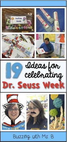 19 Ideas for celebrating Dr. Seuss Week - fun ways to celebrate Read Across America with bulletin boards, activities, fun clothes days, and food snacks!