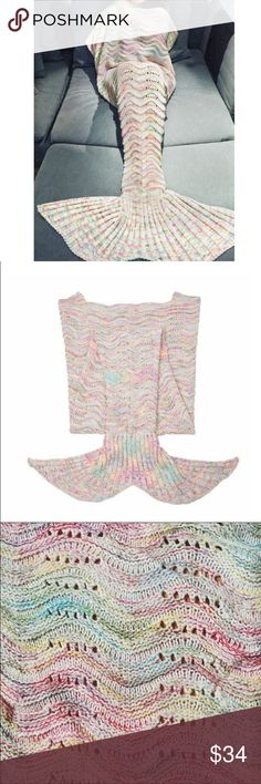SALE!Cream/Rainbow Mermaid Tail Blanket This adorable mermaid tail blanket throw will keep you extra cozy while lounging around the house (or ocean!) NOT FREE PEOPLE BRAND  Brand New, knitted cotton blanket, no flaws!  Adult size: Approx 78 inches long X Approx 32 inches at the top opening.  tags - mermaid blanket mermaid tail  fish tail throw blanket adult full size scales water ocean shells cozy colorful knitted blanket beautiful siren Free People Other