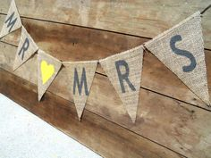 Mr. & Mrs. Wedding Burlap Banner / Yellow and by nhayesdesigns, $22.00