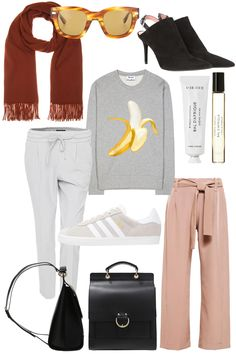 Sunday's Cravings: Transitioning. Acne Studios Jumper, Mules, Canada Scarf and Sunglasses, Byredo Parfum and Hand cream, Adidas Gazelle Sneakers, mint&berry backpack, Opus Joggpants, House of Sunny dusty pink pants - teetharejade.com