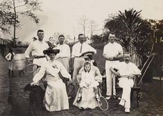 A group of British tennis players photographed in India around 1912.