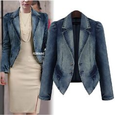 Beauty world-- 2015 fashion autumn and winter plus size  mm long-sleeve denim outerwear