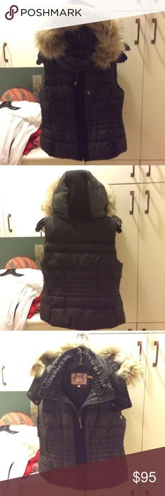 Juicy Couture Down Vest Juicy Couture Black Down Quilted Vest with removable  hood and faux fur collar.  Cozy and fashionable. Juicy Couture Jackets & Coats Vests