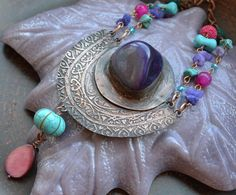 Copper pendant in oriental style Purple Turquoise от TanyaKolyada