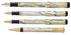 Parker pens are one of the most famous pen brands and the Duofold pens are famous and very collectible.  Pearl and black styles are shown here.