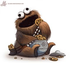 Daily Paint #1106. Cookie Wookie Monster by Cryptid-Creations.deviantart.com on @DeviantArt