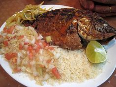 Attieke. Made from delicious cassava couscous, served with Plantains. This dish originated from the Ivory Coast but Senegalese people put a nice twist on it.