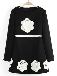 Black Long Sleeve Applique Ruffle Dress US$33.61