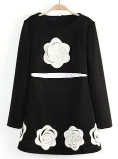 Black Long Sleeve Applique Ruffle Dress - Sheinside.com