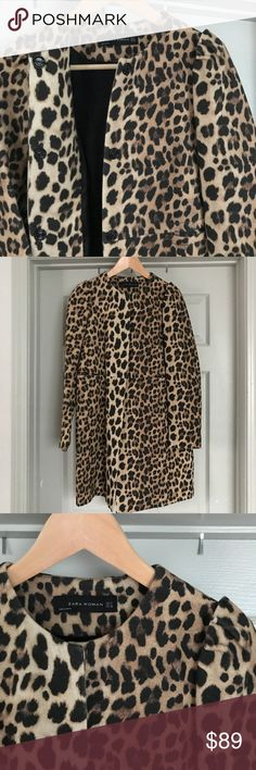Zara Leopard Coat SzMedium Zara Woman Wool/Cotton blend Leopard Top Coat size Medium. Worn maybe twice, this coat is more fashion than function! Three button closure. Seaming at the waist with on seam pockets (stitching loose front left pocket- shown in photo). Ruched cap shoulders. Collarless round neck. Gorgeous- last photo from pinterest for length! Zara Jackets & Coats