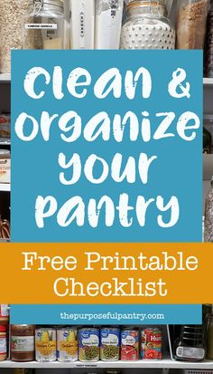 It's that time - you've gotten through these months, it's time to restock and reorganize that pantry to get back to life! Free Printable Checklist to help you get started! Diy Cleaning Products, Cleaning Solutions, Cleaning Hacks, Diy Products, Food Storage Organization, Organization Skills, Organizing, Open Pantry, Pantry Shelving