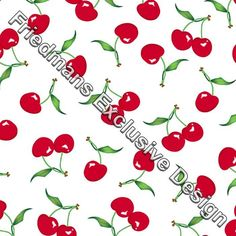 RUN109 Red Cherry on White | Printed Lycra Fabric | Printed Fabric | Stretch Fabric | Funki Fabrics | Swimwear Fabric