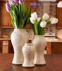 Photo Mondays: Jean's Clay Studio White Fern Vases.