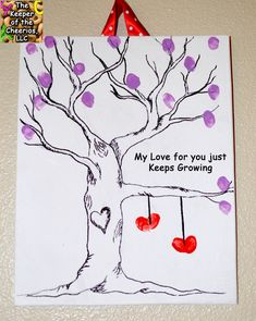 My Love For You Just Keeps Growing - Fingerprint Love Tree - Valentine's Day