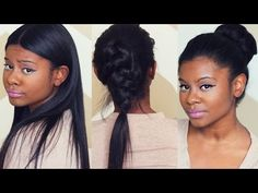 SLEEK FALL HAIRSTYLES with CLIP IN EXTENSIONS | Better Length Light Yaki Clip Ins - YouTube