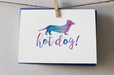 Hot Dog Watercolor Blank Notecard 5 x 7 by PostmarkMiami on Etsy