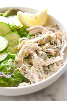 This simple, healthy chicken salad recipe is made with breast meat from a cooked rotisserie chicken, fresh lemon and dill. Fast and easy, and perfect for all diets including low-carb, keto, Whole30, Paleo, gluten-free and of course, Weight Watchers.