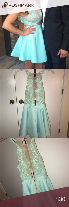 mint green dress mint green dress, lace on top and flows out Dresses Mini