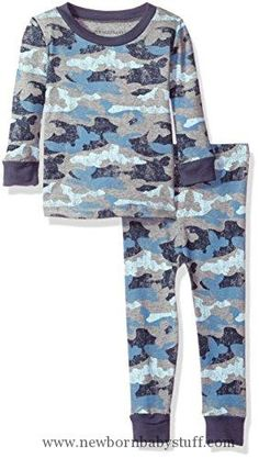 Baby Girl Clothes Burt's Bees Baby Baby Organic 2 Piece Pajama Set, Blue Smoke Distressed Camo Bee, 24 Months