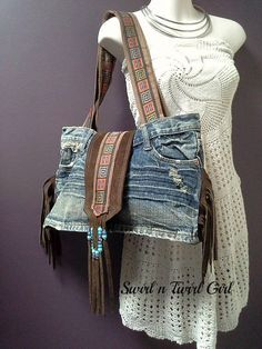 6356bea94d67 Denim suede bag brown fringed bag boho festival bag leather Aztec Bag