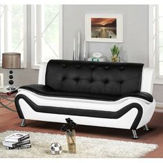 online shopping for Container Furniture Direct Arul Leather Air Upholstered Mid Century Modern Sofa, , Black/White from top store. See new offer for Container Furniture Direct Arul Leather Air Upholstered Mid Century Modern Sofa, , Black/White Black Sofa, White Sofas, Convertible, Steel Sofa, Mid Century Modern Sofa, Sofa Legs, Black Furniture, Accent Furniture, Office Furniture