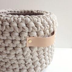 Image of Leather Handle Crochet Basket