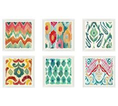 Colorful Painterly Ikats White Framed Prints