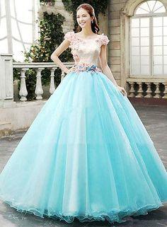 New Blue Quinceanera Dresses Ball Gowns Cap Sleeve Prom Dress Wedding Dress