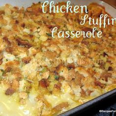 My favorite dish at Thanksgiving. My grandma made the best I have ever tasted. (chicken stuffing casserole no soup) Chicken Stuffing Casserole, Broccoli Cheese Casserole, Stuffing Recipes, Casserole Dishes, Cheap Casserole Recipes, Turkey Casserole, Stuffing Mix, Taco Casserole, Skillet Chicken