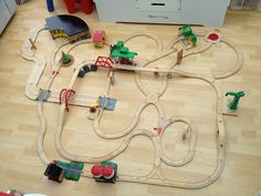 An epic train track made with practically every #BRIO piece that's owned. More impressive is the fact it's all pieced together with twists, turns, junctions and bridges. Set the battery trains off, and they just keep going!