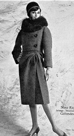 1960s  wool bouclé suit with fox fur collar by Nina Ricci jacket coat skirt dress